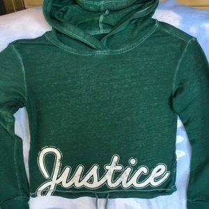 GUC Girls Size 10 Justice Crop Top Hooded LS Shirt
